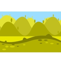 Cartoon Landscape of Green Meadows Fields Hills vector