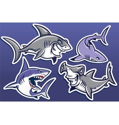 cartoon shark collection pack vector image