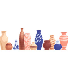 Ceramic pots and flower vases border different vector