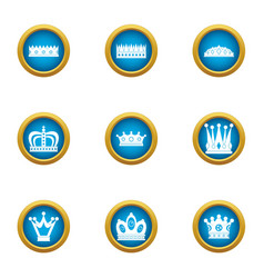 Chaplet icons set flat style vector