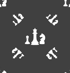 chess Game icon sign Seamless pattern on a gray vector image