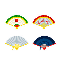chinese hand fans beautiful asian accessory vector image