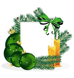Christmas ornaments and pine tree branches vector image