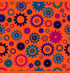 cogwheel seamless colorful pattern orange color vector image