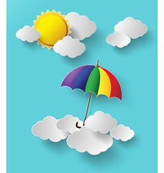 colorful umbrella on sky vector image