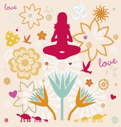 Composition of esoteric flower symbols for yoga vector