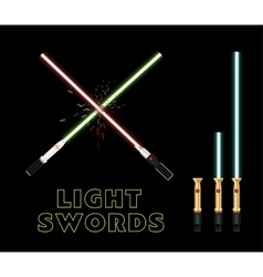 Crossed light swords Flat style vector image