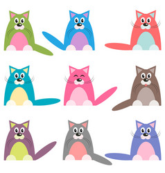 Cute colorful cats set vector