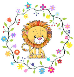 Cute lion in a flowers frame vector