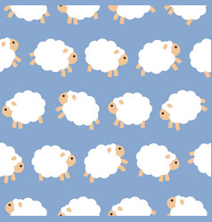 cute sheep jumping in the sky seamless pattern vector image