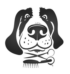 Dog grooming symbol for business vector