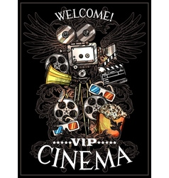 Doodle Cinema Poster vector image