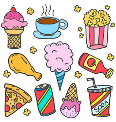 Doodle of food various with drink vector