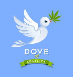 Dove legality with marijuana leaf vector