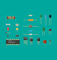 electronic components circuit set vector image