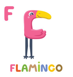 f is for flamingo letter f flamingo cute animal vector image