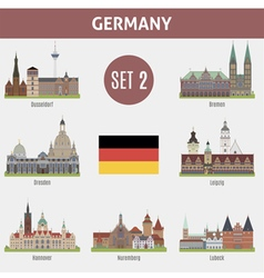Famous Places cities in Germany vector