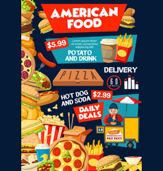 Fast food from america poster for delivery service vector