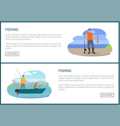 Fishing fishery posters men vector
