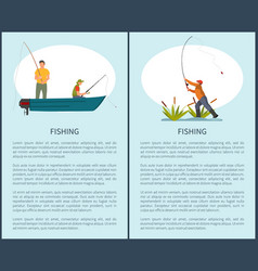 Fishing on lake or river in motor boat poster vector