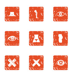 Fix the limb icons set grunge style vector