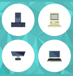 flat icon laptop set of computing processor pc vector image
