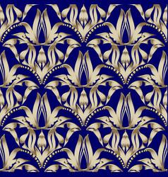 floral gold damask seamless pattern dark blue vector image