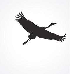 Flying crane bird silhouette vector