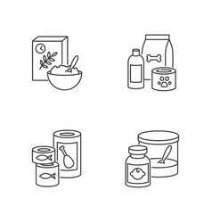 food items pixel perfect linear icons set vector image
