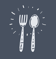 fork and spoon on dark background vector image