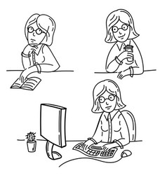 freelance girl works on computer drinking tea vector image