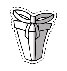 Gift box ribbon ornament celebration linea shadow vector