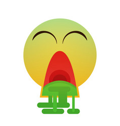 Green cartoon face sick feeling bad people emotion vector