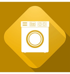 icon of Washing Machine with a long shadow vector image