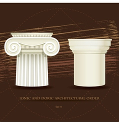 Ionic and Doric architectural order vector