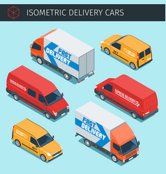 Isometric delivery cars vector