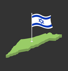 Israel flag and map israeli banner ribbon jewish vector