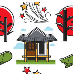 Korean symbols house and sunset plant and firework vector