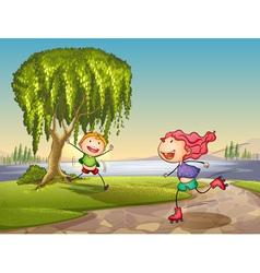 lakeside Kids playing vector image vector image