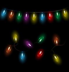 Led Christmas lights on black vector