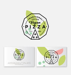 logo pizza vegan simple linear stamp pizzeria vector image