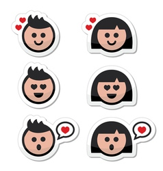 Man and woman in love valentines icons set vector image