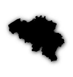 map of belgium with shadow vector image