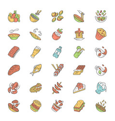 Menu dishes color icons set salads first meal vector