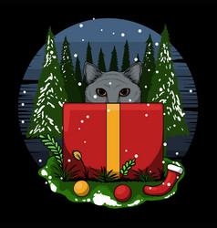 Merry christmas kitten gift box vector