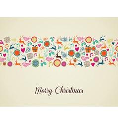 Merry Christmas multicolors reindeer vector image