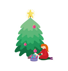 Merry christmas woman decorating tree basket balls vector