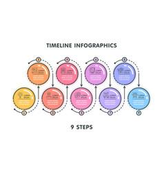 modern 9 steps timeline infographic template vector image