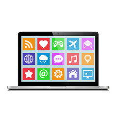 modern laptop with icons vector image