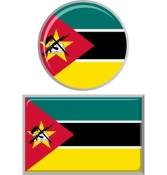 Mozambique round and square icon flag vector